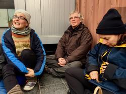 Finnish Lutheran priest Maika Vuori, Roshi Frank and Niamh Barrett from Ireland during the Helsinki