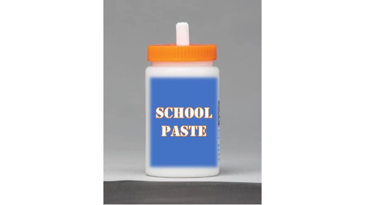White plastic container with an orange lid.  Blue label says School Paste