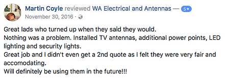 WA Electrical and Antennas reviews