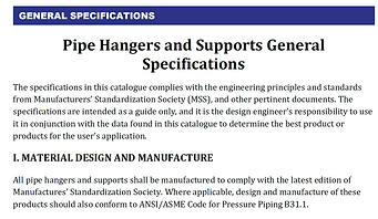 PIPE HANGERS AND SUPPORTS GENERAL SPECIFICATIONS
