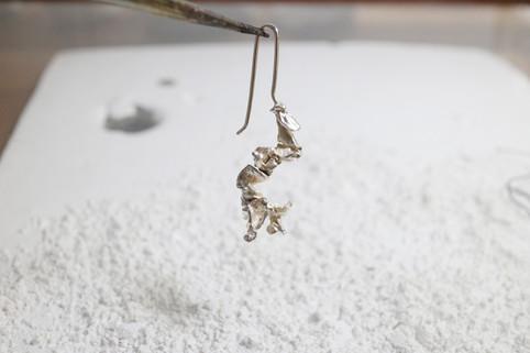 30 plant earring in fine silver - hkd $580