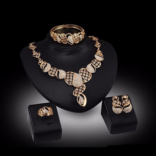 4 Piece Gold & Rhinestone Necklace Set