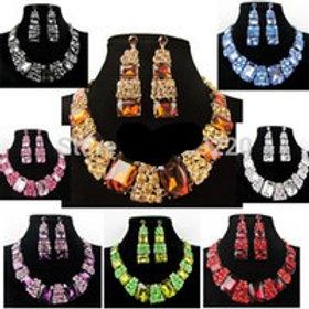 Elegant Chunky Crystal Necklace Sets