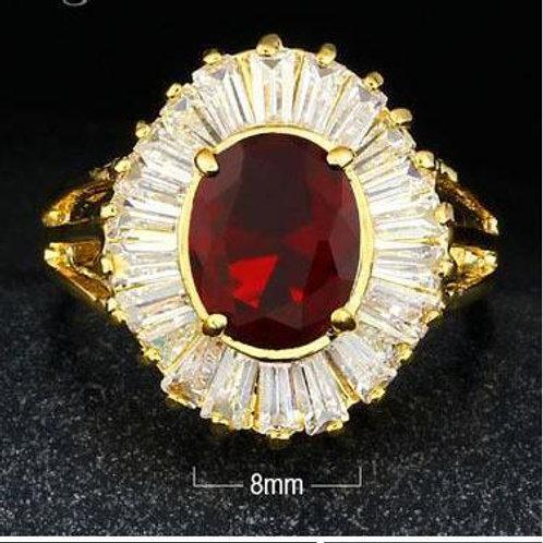 Brilliant Starburst Ruby CZ  Ring