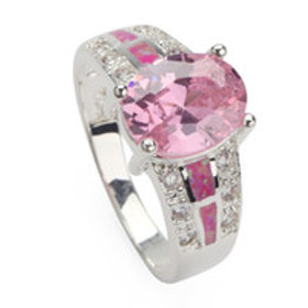 Pink Cubic Zirconia Silver Ring