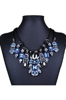 Jazzy Blue Gem Rope Necklace