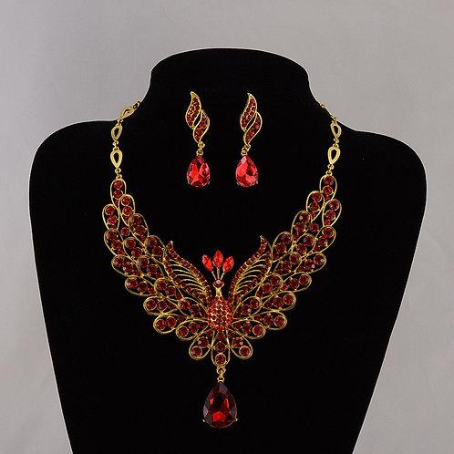 Garnet & Gold Firebird Necklace Set