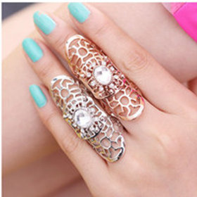 Silver or Gold Long Finger Ring