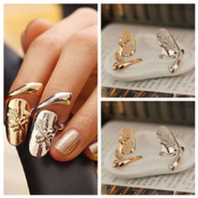 1 Pair Silver or Gold Nail Rings
