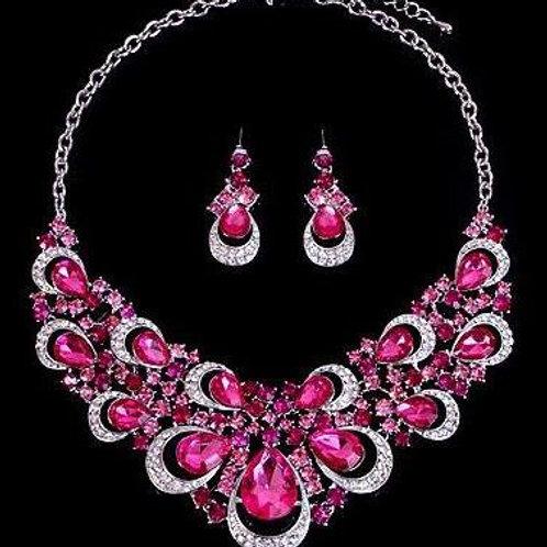 Luscious Pink Chunky Gem Necklace Set