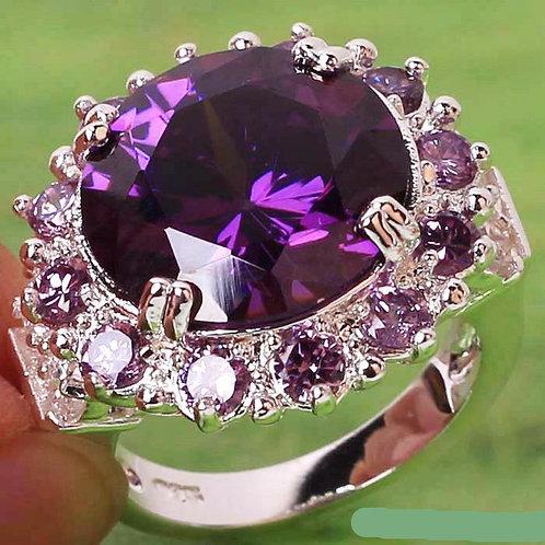 Amethyst & Crystal Ring - Size 8