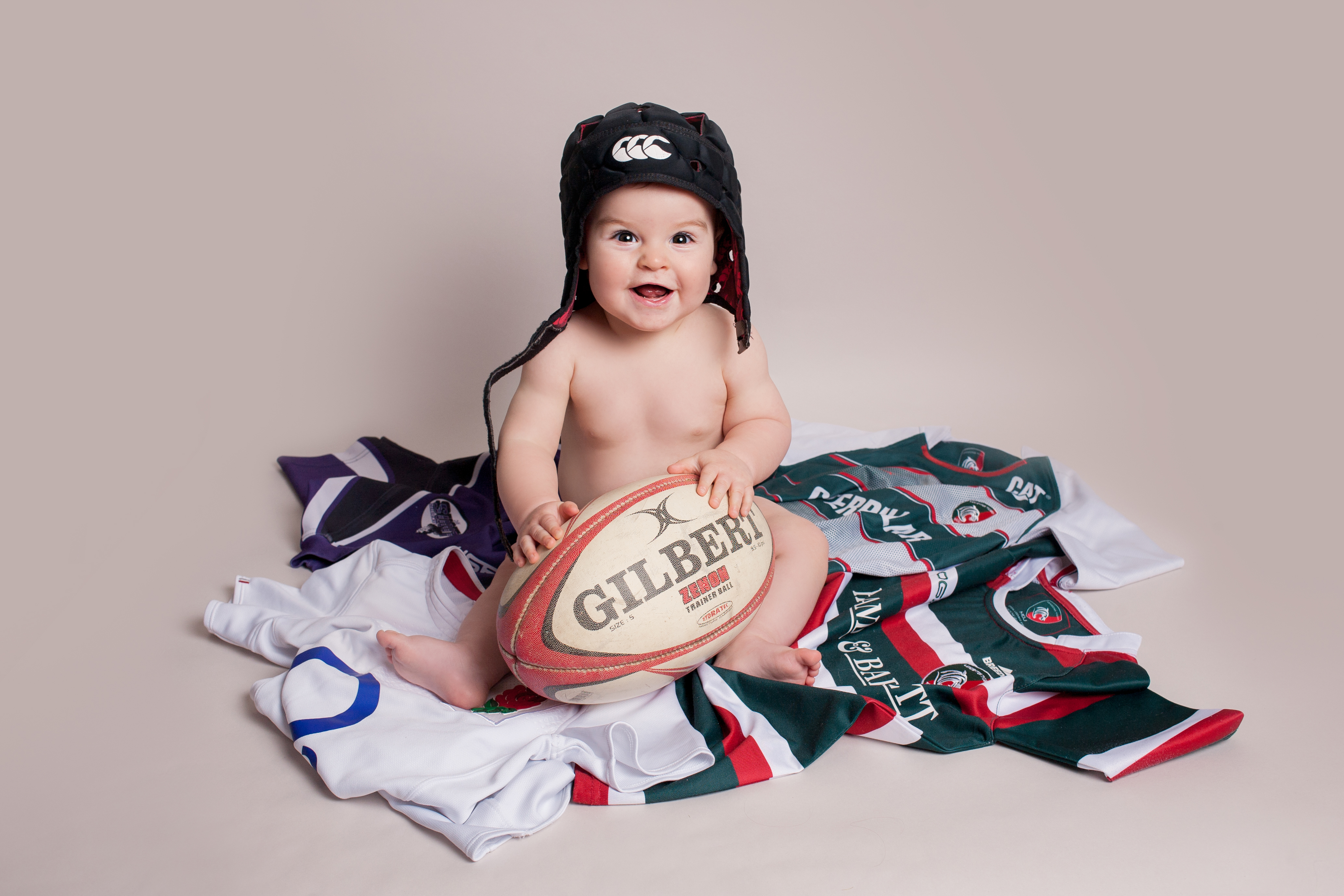 Rugby themed baby photoshoot leicester