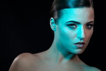 Portrait beauté studio gélatines bleue