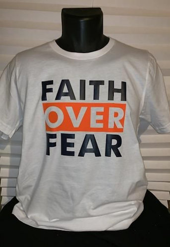 Faith Over Fear T-Shirt (Blue & Orange)