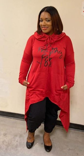 """Blood Line"" Hi-Lo Hooded Sweatshirt w/Pockets"