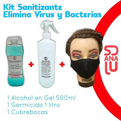 Kit Sanitizante Liquido Antibacterial Gel 500ML  Y Spray 1L , y cubrebocas