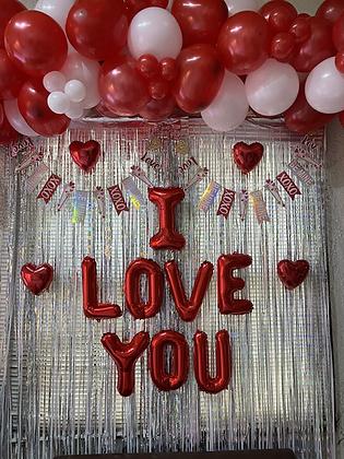 """Letrero de Globos """"I LOVE YOU"""""""