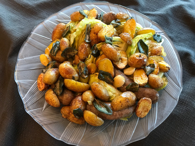 Bratwurst with Fall Vegetables