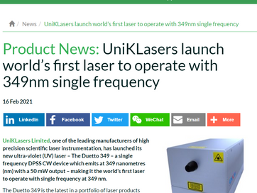UniKLasers launch world's first laser to operate with 349nm single frequency | SelectScience