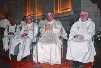 Fr. Joe, Cardinal Turcotte, Msgr. Harty.