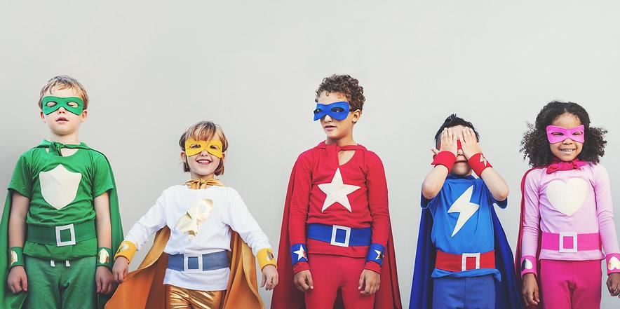 Children in  heroe Costumes