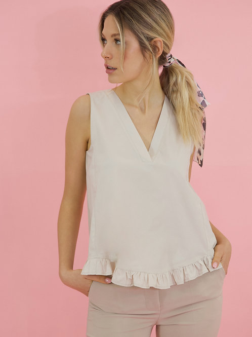 RUFFLED POPLIN TOP