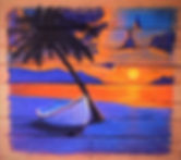 ISLAND SUNSET ON PALET BOARDS