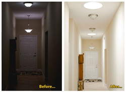Hallway Before and After Solar Light Tubes Installation Jacksonville_edited