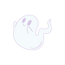 Blue White Ghost Cute and Playful Circle