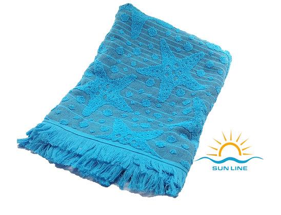 2in1 Peshtemal Towel Blue Cotton