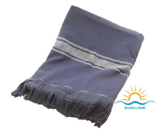 Blue Peshtemal Grey Striped PeshTerry