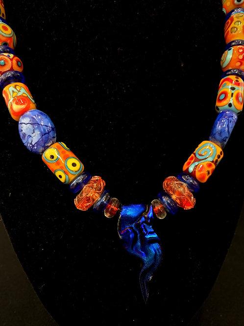 Blue Glasswork Necklace