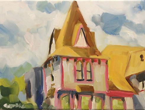 White House with Pink Plein Air