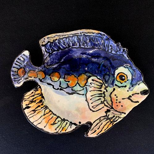 Tiny Blue and Orange Fish Plate