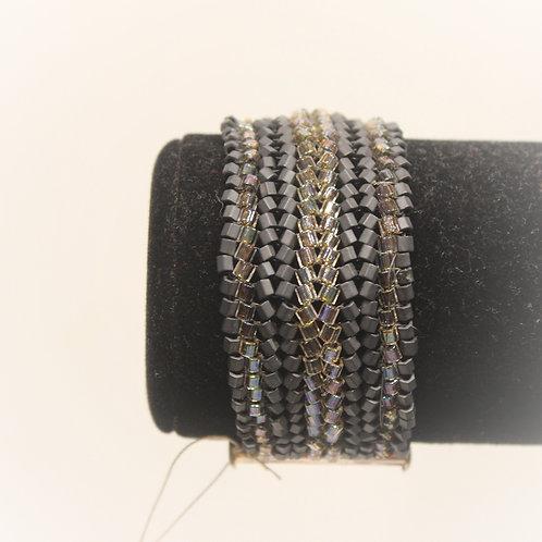 Wide Herringbone Black Bracelet