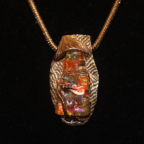 Dichroic Orange Glass Necklace