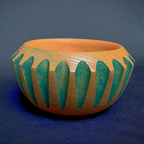 Green Fluted Oak Bowl