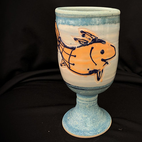 Unique Blue Fish Goblet