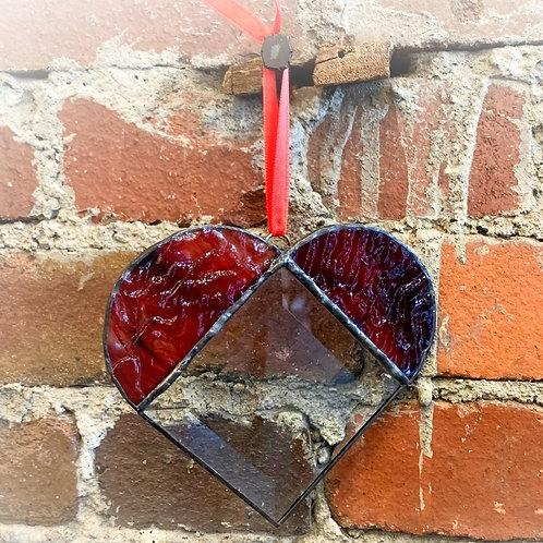 Ruffle Red Bevel Heart