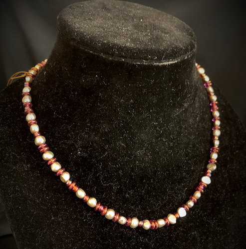 Rose Pearl Necklace with Earrings