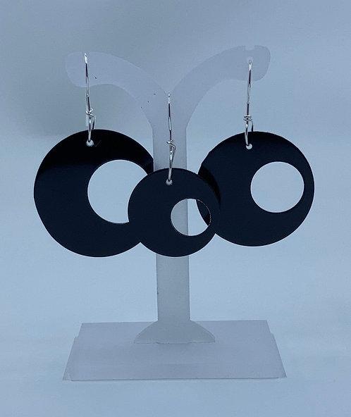 3 Circles Earrings, Black