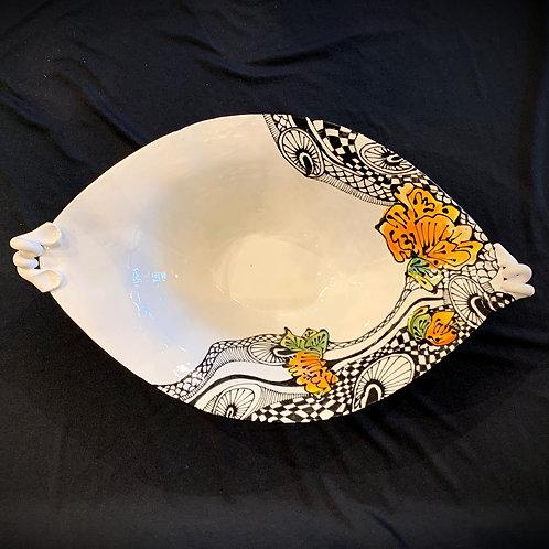 Orange Floral Bowl