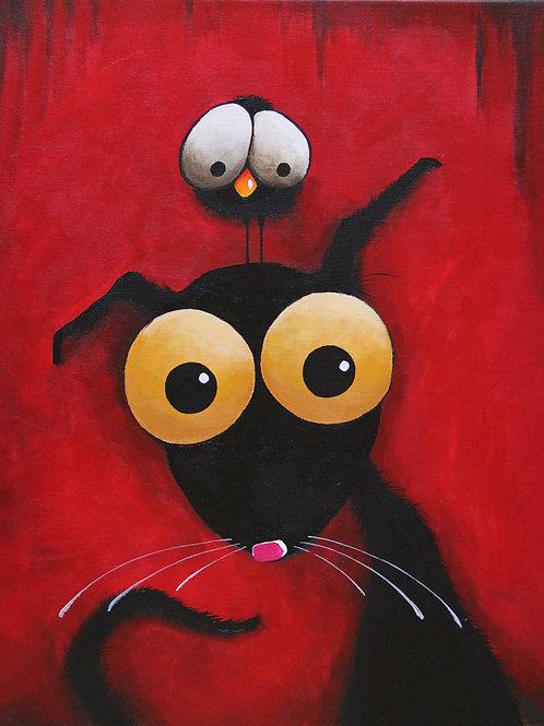 STRESSIE CAT IN RED