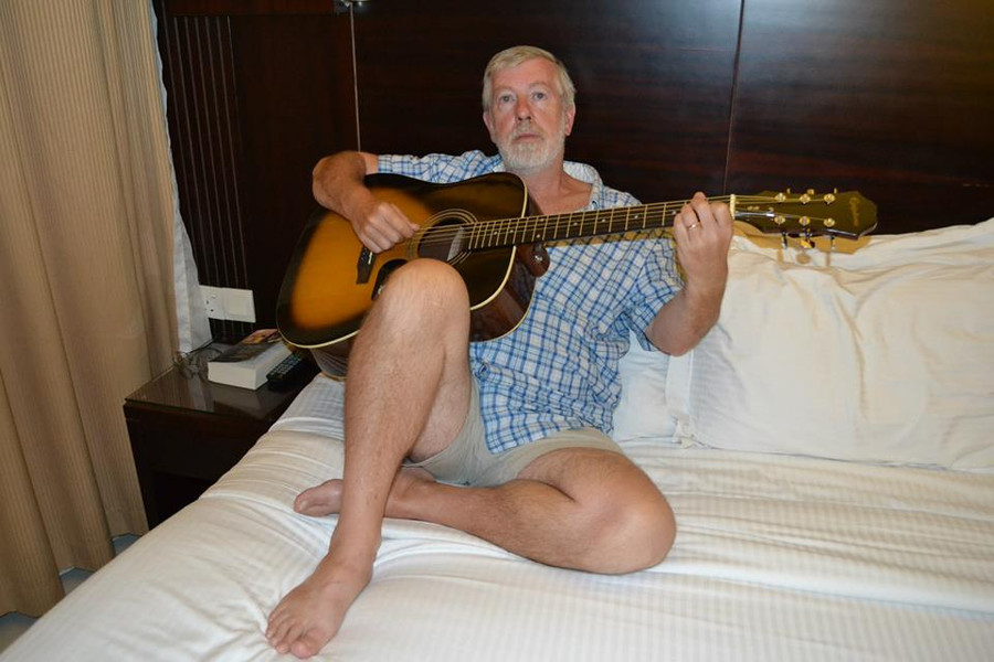 I picked up this guitar, brand new, from a music shop in Dubai, whilst en-route to visit a friend in Ras al Khaimah. At the time, I only had a 1960s Romanian-made nylon-strung guitar, as I was newly-arrived in the country. My other guitars were on-loan to Lewis Ronson, in England. This Epiphone acoustic was just perfect, for what I needed. I did nip across the water to see the luthier Adel Sakr, in Cairo, to have Fishman electrics and pick-up fitted to the guitar, plus a few other modifications and then the guitar was ready to go. I used this guitar as the main rhythm guitar throughout the whole album 'A Rough Time In Rocester' - borrowing a Fender Stratocaster for all of the electric guitar parts - and in a few live concerts with the jazz band that I was playing with, at the time. These days, I mainly use this fine, versatile, smooth-toned guitar for writing songs and working-out guitar solos. Every now and then, I record with it, usually in conjunction with one of my 12-string guitars. This guitar has served me well and it is set-up exactly how I like it. When plugged in, it sounds like a guitar that would cost four or five times what I paid for it, even including the modifications.
