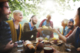 Diverse People Luncheon Outdoors Food Co