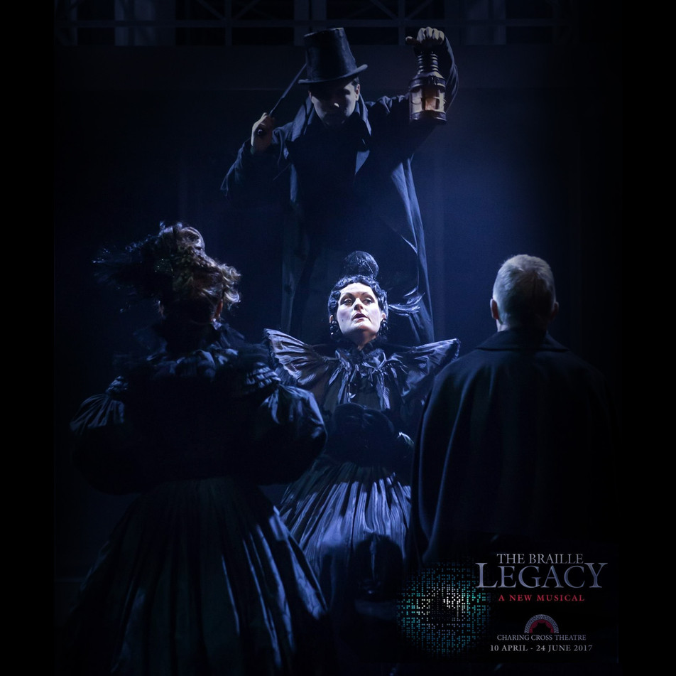 """Braille Legacy 2017 """"Kate Milner-Evansgives a scene-stealing turnas pompous Madame Barbier"""" The Braille Legacy  Sophie Adnitt- British TheatreWestend reviews  April 24th 2017"""