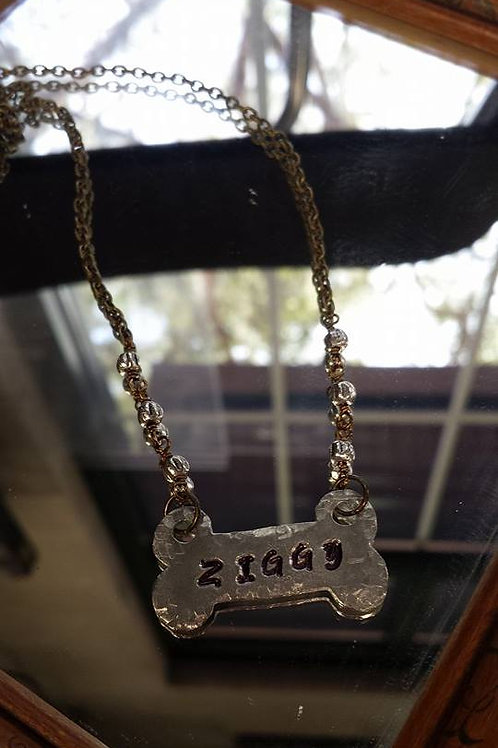 Engraved Dog Bone Necklace