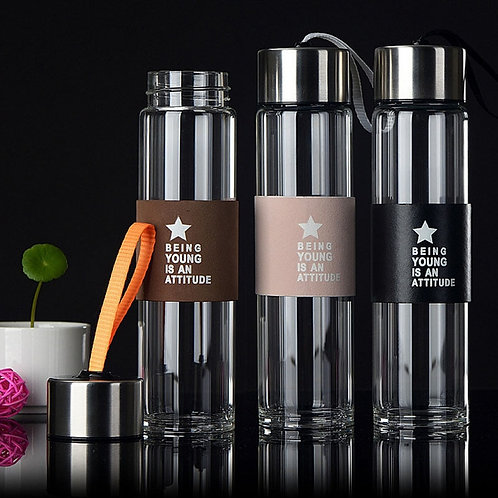 High Quality Glass Water  Bottles 500ml  Lid With Rope