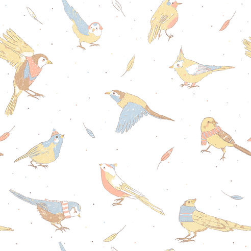 Birds in winter pattern Illustrated by Petunia