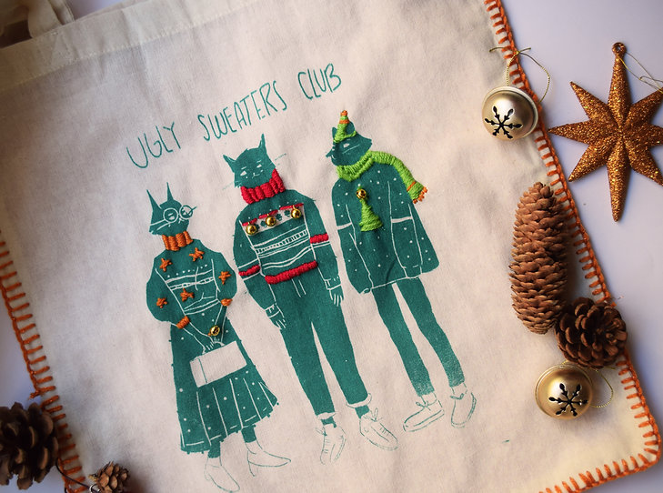 Handmade Knited bag Illustrated by Petunia